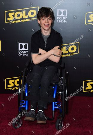 """Micah Fowler arrives at the premiere of """"Solo: A Star Wars Story"""" at El Capitan Theatre, in Los Angeles"""