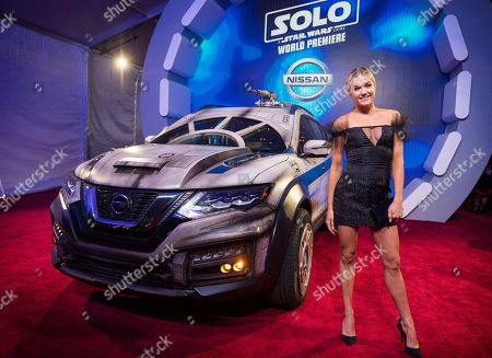 Lindsay Arnold with the Nissan Millennium Falcon Rogue at the 'Solo: A Star Wars Story' film premiere, in Los Angeles