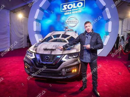 Ray Park with the Nissan Millennium Falcon Rogue at the 'Solo: A Star Wars Story' film premiere, in Los Angeles
