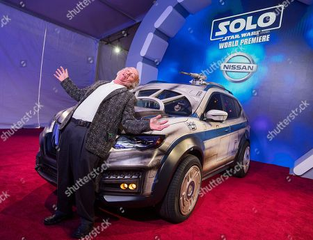 Clint Howard has fun with the Nissan Millennium Falcon Rogue at the 'Solo: A Star Wars Story' film premiere, in Los Angeles