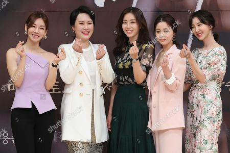 Stars of SBS drama 'Secret Mother' pose at an event in Seoul, South Korea, 11 May 2018 to promote the mystery thriller about a surrogate mother who comes into a woman's house to find a secret about the death of the woman's child. From left are Kim So-yeon, Kim Jae-hwa, Song Yoon-ah, Seo Young-hee and Oh Yeon-ah.