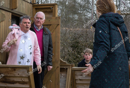 Ep 8145 Thursday 10th May 2018 - 1st Ep Doug Potts, as played by Duncan Preston, and Laurel Thomas, as played by Charlotte Bellamy, find Bob Hope, as played by Tony Audenshaw, in the pirate shop and Arthur Thomas, as played by Alfie Clarke, admits to locking him in... Bob rushes off, hoping he can still make it to the wedding, but will he and if so will Brenda still marry him?