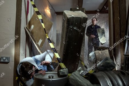 Ep 8151 Thursday 17 May 2018 - 1st Ep Lachlan lets himself in to the B&B. Lachlan asks him to help put bottles away. When Gerry walks under the propped up roof, Lachlan kicks a barrel into the prop and the roof collapses on top of Gerry, seemingly killing him. With - Gerry Roberts, as played by Shaun Thomas ; Lachlan White, as played by Thomas Atkinson.