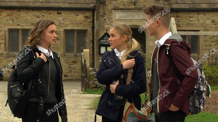 Ep 8155 & 8156 Tuesday 22nd May 2018  Jacob Gallagher, as played by Joe Warren Plant, Leanna Cavanagh, as played by Mimi Slinger, and Gabby Thomas, as played by Rosie Bentham, miss the bus and worry about missing school. A scheming Leanna tells them she has an idea.