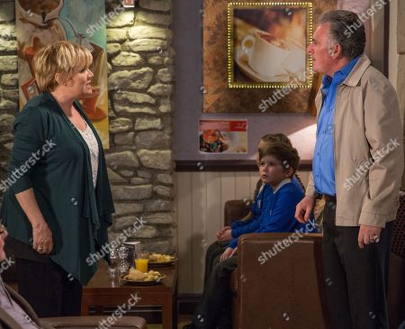 Ep 8158 Thursday 24th May 2018 - 1st Ep Bob Hope, as played by Tony Audenshaw, tries to keep things civil in front of Cathy & Heath when he asks Brenda Hope, as played by Lesley Dunlop, if he can pick up the rest of his things. Brenda plays along.