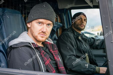 Stock Photo of Gary Windass, as played by Mikey North, and Joe, as played by Chord Melodic, pull up at the campsite in Abergele. Gary's shocked when he spots Phelan in the distance, alive and well!