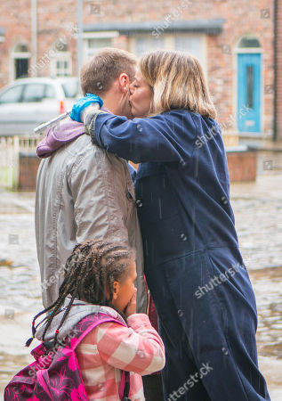 Stock Picture of Ep 9463 Wednesday 23 May 2018 - 1st Ep When Hope Stape, as played by Isobella Flanagan, sees Abi Franklyn, as played by Sally Carmen, kissing Tyrone Dobbs, as played by Alan Halsall, on the cheek, and telling him how much she loves her new boss, she reports back to a furious Fiz.