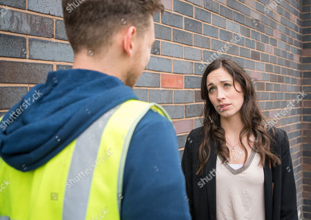 Stock Image of Ep 9463 Wednesday 23 May 2018 - 1st Ep Shona Ramsey, as played by Julia Goulding, dupes Josh's old work colleague, Dec, as played by Josh Harper, into meeting up. When she pushes him for answers, Shona is horrified to realise that Josh raped Dec too. Refusing to discuss it further, Dec hurries away.