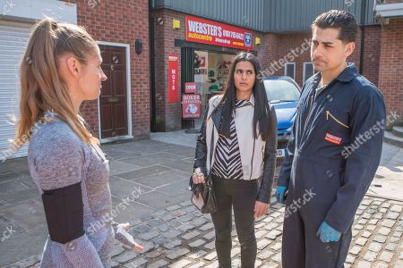 Stock Picture of Ep 9463 Wednesday 23 May 2018 - 1st Ep Josh Tucker, as played by Ryan Clayton, is quietly worried when his old training partner Claire, as played by Bethany-Jo Clews, tells him that Shona called in the gym asking questions about his past. Alya Nazir's, as played by Sair Khan, intrigued.
