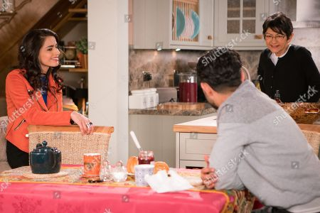 Stock Image of Ep 9457 Wednesday 16 May 2018 - 1st Ep When Rana Nazir, as played by Bhavna Limbachia, offers to work a shift at Speed Dhal, Zeedan Nazir's, as played by Qasim Akhtar, pleased whilst Yasmeen Nazir, as played by Shelley King, worries that he's getting his hopes up.