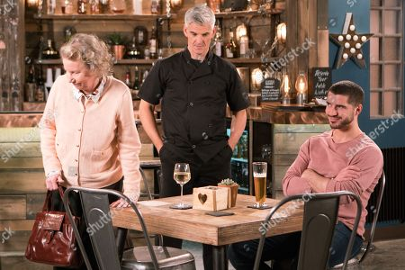Ep 9459 Wednesday 16 May 2018 - 1st Ep Adam Barlow, as played by Sam Robertson, takes Flora, as played by Eileen Davies, for dinner and can't help enjoying her company.