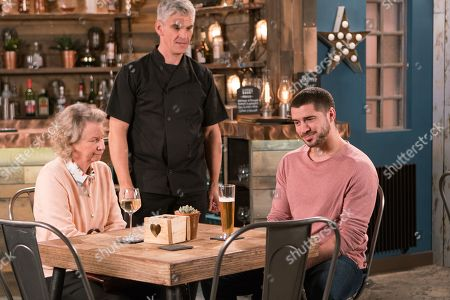 Stock Picture of Ep 9459 Wednesday 16 May 2018 - 1st Ep Adam Barlow, as played by Sam Robertson, takes Flora, as played by Eileen Davies, for dinner and can't help enjoying her company.
