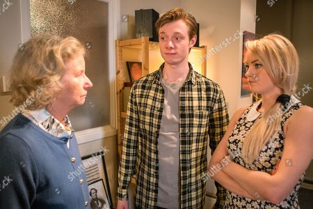 Stock Image of Ep 9456 Monday 14 May 2018 - 2nd Ep Over dinner Flora, as played by Eileen Davies, takes an instant dislike to Sinead Tinker, as played by Katie McGlynn, and accuses her of trying to poison her! Daniel Barlow, as played by Rob Mallard, is amused.