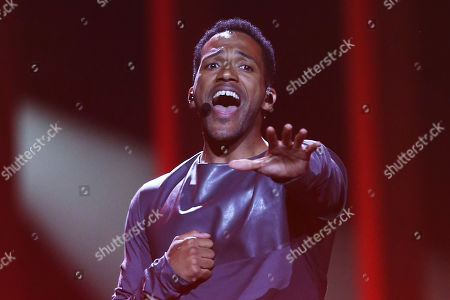 Cesar Sampson from Austria performs the song 'Nobody But You' in Lisbon, Portugal, during a dress rehearsal for the Eurovision Song Contest. The Eurovision Song Contest grand final takes place in Lisbon on Saturday May 12, 2018