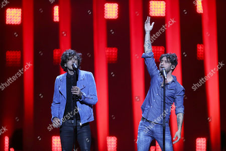 Ermal Meta and Fabrizio Moro from Italy perform the song 'Non Mi Avete Fatto Niente' in Lisbon, Portugal, during a dress rehearsal for the Eurovision Song Contest. The Eurovision Song Contest grand final takes place in Lisbon on Saturday May 12, 2018