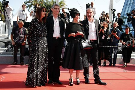 (l-R) Editor Nicole Brenez, producer Fabrice Aragno, producer Mitra Farahani and produer Jean Paul Battaggia arrive for the screening of The Image Book (Le Livre d'image) during the 71st annual Cannes Film Festival, in Cannes, France, 11 May 2018. The movie is presented in the Official Competition of the festival which runs from 08 to 19 May.