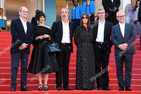 (L-R) Pierre Lescure, producer Mitra Farahani, producer Jean-Paul Battaggia, editor Nicole Brenez, producer Fabrice Aragno and Thierry Fremaux arrive for the screening of The Image Book (Le Livre d'image) during the 71st annual Cannes Film Festival, in Cannes, France, 11 May 2018. The movie is presented in the Official Competition of the festival which runs from 08 to 19 May.