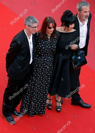 Editor Nicole Brenez, producer Fabrice Aragno, producer Mitra Farahani and produer Jean Paul Battaggia arrive for the screening of The Image Book (Le Livre d'image) during the 71st annual Cannes Film Festival, in Cannes, France, 11 May 2018. The movie is presented in the Official Competition of the festival which runs from 08 to 19 May.