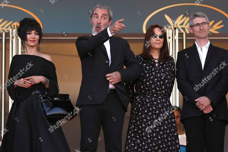 Mitra Farahani, Jean-Paul Battagia, Nicole Brenez, Fabrice Aragno. Producers Mitra Farahani, from left, Jean-Paul Battagia, Nicole Brenez and director of photography Fabrice Aragno pose for photographers upon arrival of the film 'The Image Book' at the 71st international film festival, Cannes, southern France