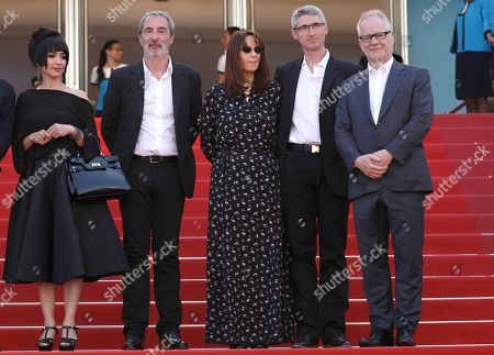 Mitra Farahani, Jean-Paul Battagia, Nicole Brenez, Fabrice Aragno, Thierry Fremaux. Producers Mitra Farahani, from left, Jean-Paul Battagia, Nicole Brenez, director of photography Fabrice Aragno and Cannes Film Festival Director Thierry Fremaux pose for photographers upon arrival of the film 'The Image Book' at the 71st international film festival, Cannes, southern France