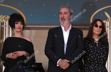 Mitra Farahani, Jean-Paul Battagia, Nicole Brenez. Producers Mitra Farahani, from left, Jean-Paul Battagia and Nicole Brenez pose for photographers upon arrival of the film 'The Image Book' at the 71st international film festival, Cannes, southern France