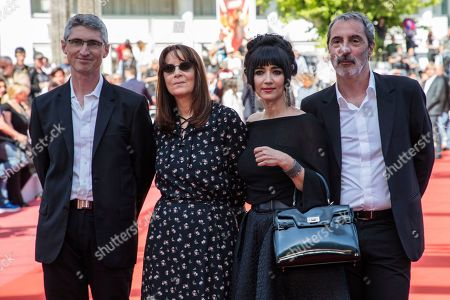 Nicole Brenez, Fabrice Aragno, Mitra Farahani, Jean Paul Battaggia. Editor Nicole Brenez, producer Fabrice Aragno, producer Mitra Farahani and produer Jean Paul Battaggia pose for photographers upon arrival at the premiere of the film 'The Image Book' at the 71st international film festival, Cannes, southern France