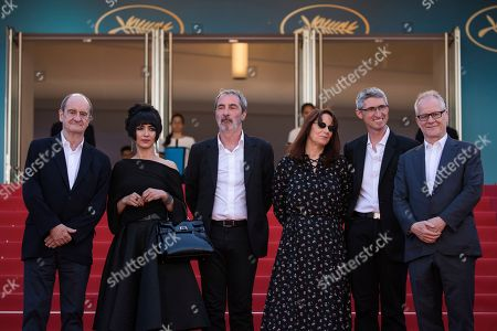 Pierre Lescure, Mitra Farahani, Jean-Paul Battaggia, Nicole Brenez, Fabrice Aragno, Thierry Fremaux. Pierre Lescure, producer Mitra Farahani, producer Jean-Paul Battaggia, editor Nicole Brenez, producer Fabrice Aragno and Thierry Fremaux pose for photographers upon arrival at the premiere of the film 'The Image Book' at the 71st international film festival, Cannes, southern France