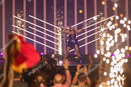 Jessica Mauboy of Australia is performing her song We Got Love during the grand final of the Eurovision Song Contest 2018 in Lisbon, Portugal