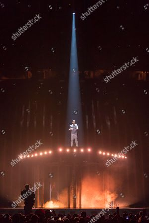 Cesar Sampson of Austria is performing his song 'Nobody But You' during the grand final of the Eurovision Song Contest 2018 in Lisbon, Portugal