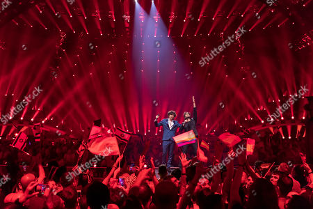 Ermal Meta & Fabrizio Moro are performing their song ãNon mi aveto fatto nienteÒ during a dress rehearsal for the grand final of the Eurovision Song Contest 2018 in Lisbon, Portugal