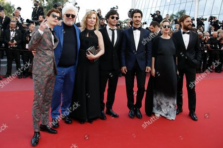 (L-R) Argentinian actor Lorenzo Ferro, Producer Pedro Almodovar, Argentinian actress Cecilia Roth, Argentinian director Luis Ortega, Argentinian actor Chino Darin, Argentinian actress Mercedes Moran and Argentinian actor Peter Lanzani arrive for the screening of 'Ash Is Purest White' during the 71st annual Cannes Film Festival, in Cannes, France, 11 May 2018. The movie is presented in the Official Competition of the festival which runs from 08 to 19 May.