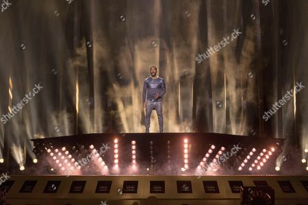 Cesar Sampson of Austria is performing his song 'Nobody But You' during a dress rehearsal for the grand final of the Eurovision Song Contest