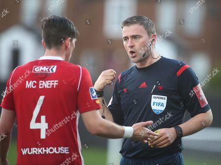 Derry City vs Cork City. Referee Paul McLoughlin books Derry's Aaron McEneff