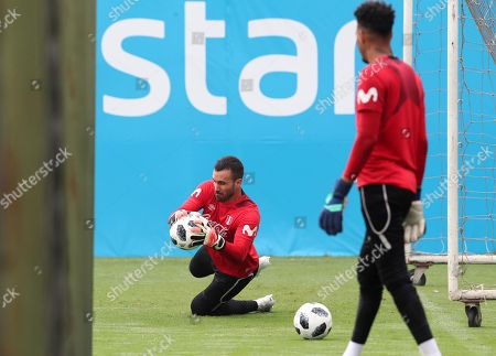 Peru's national soccer team goalkeeper Jose Carvallo (L) participates in a training session at the Videna sports city in Lima, Peru, 11 May 2018. Peru prepares for a European tour where it will play friendly matches against Saudi Arabia and Sweden to prepare for the the 2018 FIFA World Cup Russia.