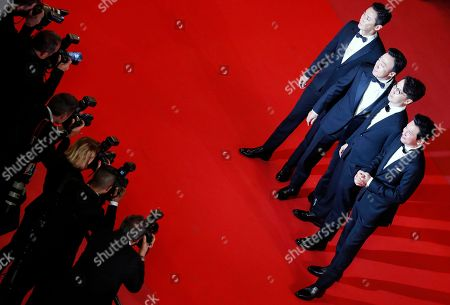 (R-L)  South Korean actor Ju Ji-Hoon, South Korean director Yoon Jong-Bin, South Korean actor Lee Sung-Min and South Korean actor Ju Ji-Hoon arrives for the screening of 'The Spy Gone North (Gongjak)' during the 71st annual Cannes Film Festival, in Cannes, France, 11 May 2018. The movie is presented in the section Midnight Screenings at the festival which runs from 08 to 19 May.