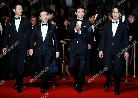 (L-R)  South Korean actor Ju Ji-Hoon, South Korean actor Lee Sung-Min, South Korean actor South Korean actor Hwang Jung-Min and South Korean director Yoon Jong-Bin arrives for the screening of 'The Spy Gone North (Gongjak)' during the 71st annual Cannes Film Festival, in Cannes, France, 11 May 2018. The movie is presented in the section Midnight Screenings at the festival which runs from 08 to 19 May.