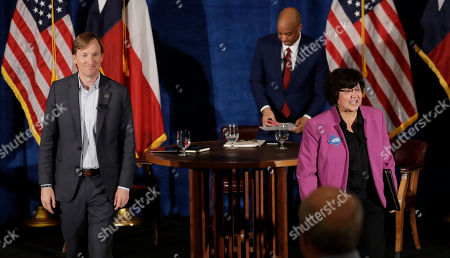 Lupe Valdez, Andrew White. Texas Democratic gubernatorial candidates Andrew White, left, and Lupe Valdez, right, walk off of the stage following a debate, in Austin, Texas, ahead of the state's May 22 primary runoff election