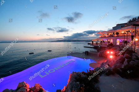 A view of the pool at the Lionsgate Cannes Party at the Hotel du Cap-Eden-Roc, in Cannes, France
