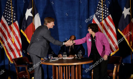 Lupe Valdez, Andrew White, Gromer Jeffers. Texas Democratic gubernatorial candidates Andrew White, left, and Lupe Valdez, right, shake hands following their debate, in Austin, Texas, ahead of the state's May 22 primary runoff election. Moderator Gromer Jeffers is at center
