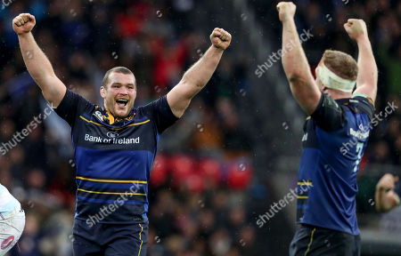 Leinster vs Racing 92. LeinsterÕs Jack McGrath and Dan Leavy celebrate at the final whistle