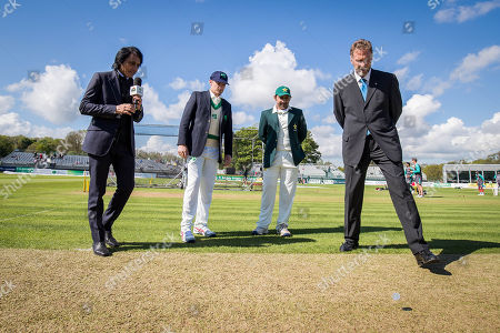 Stock Image of Ireland captain William Porterfield and Pakistan captain Sarfraz Ahmed with match referee Chris Broad at the coin toss