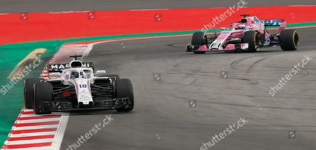 Williams driver Lance Stroll of Canada leads Force India driver Sergio Perez of Mexico during the qualifying session for the Spanish Formula One Grand Prix at the Barcelona Catalunya racetrack in Montmelo, Spain, . The Spanish Formula One Grand Prix will take place on Sunday