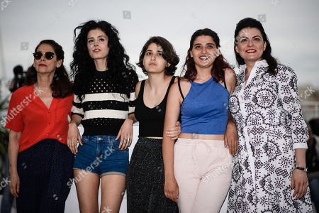 (R-L) Director Gaya Jiji and actresses Manal Issa, Nathalie Issa, Mariah Tannoury and Souraya Baghdadi pose during the photocall for 'My Favorite Fabric (Mon Tissu Prefere)' at the 71st annual Cannes Film Festival, in Cannes, France, 12 May 2018. The movie is presented in the section Un Certain Regard of the festival which runs from 08 to 19 May.