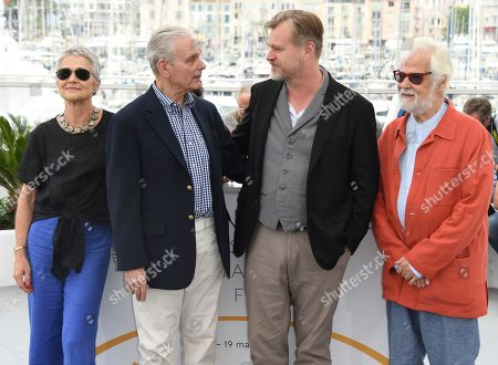 Stanley Kubrick's producing partner and brother-in-law Jan Harlan, from right, director Christopher Nolan, actor Keir Dullea and Katharina Kubrick pose for photographers during a photo call for Rendezvous with Christopher Nolan at the 71st international film festival, Cannes, southern France