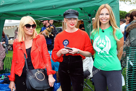Judges Michelle Collins, Aisling Jarrett-Gavin and Anneka Svenska at the All Dogs Matter Great Hampstead Bark Off, Hampstead Heat, London. All Dogs Matter is a charity dedicated to helping and re-homing dogs see www.alldogsmatter.co.uk for more information.