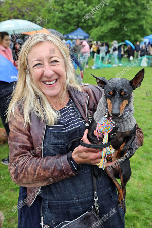 Stock Picture of Judge Anna Webb with her dog Mr. Binks at the All Dogs Matter Great Hampstead Bark Off, Hampstead Heat, London. All Dogs Matter is a charity dedicated to helping and re-homing dogs see www.alldogsmatter.co.uk for more information.