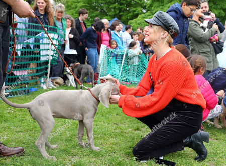 Judge Aisling Jarrett-Gavin with Caysea the Weimaraner puppy at the All Dogs Matter Great Hampstead Bark Off, Hampstead Heat, London. All Dogs Matter is a charity dedicated to helping and re-homing dogs see www.alldogsmatter.co.uk for more information.