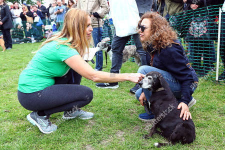 Judge Anneka Svenska with Moko the 18 year old Dachshund Pointer cross at the All Dogs Matter Great Hampstead Bark Off, Hampstead Heat, London. All Dogs Matter is a charity dedicated to helping and re-homing dogs see www.alldogsmatter.co.uk for more information.