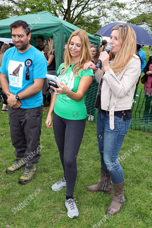 Judges Anneka Svenska, Pip Tomson and Luke Balsam at the All Dogs Matter Great Hampstead Bark Off, Hampstead Heat, London. All Dogs Matter is a charity dedicated to helping and re-homing dogs see www.alldogsmatter.co.uk for more information.