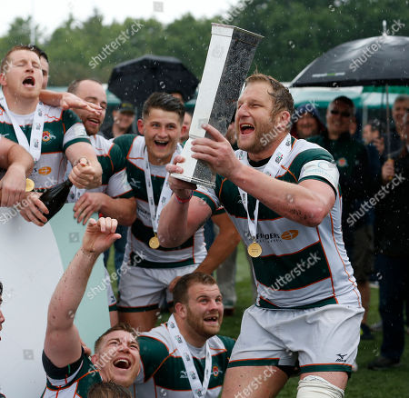 Mark Bright the Ealing Trailfinders Captain lifts the British and Irish Cup